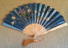 Stunning Blue Painted Flowers Hand Fan, MOP Sticks, Ca. 1895 #Unknown