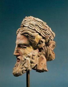 Zeus' head from the Via San Leonardo Temple, polychrome terracotta work. 5th century BCE. Orvieto, Museo Claudio Faina (Archaeological Museum), Etruscan art.