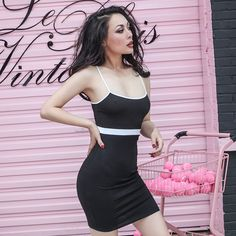 Black and white cami dress
