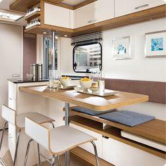 german caravan interior: kitchen. 'leben' model