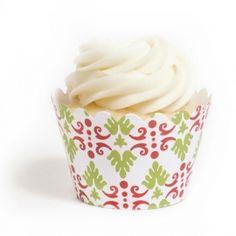 Christmas Damask Cupcake Wrappers BULK (12 Wraps) #Cupcakes