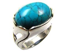 MODERN TURQUOISE STERLING SILVER RING  SIZE  8   AAT 1384  turquoise gemstone rings, multi fire gemstone rings,