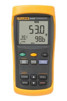 The Fluke 53 II single input digital thermometer delivers fast response with laboratory accuracy. It logs up to 500 points of temperature data to internal memory, measures contact temperature with industrial standard J, K, T, E, N, R, or S-type thermocouple temperature sensors