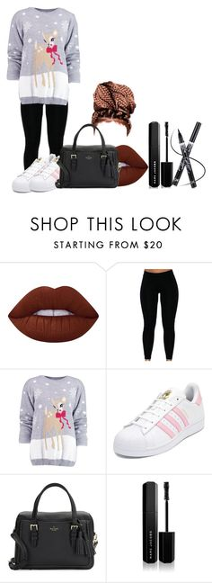 """""""Untitled #1015"""" by miss-eli-pink ❤ liked on Polyvore featuring Lime Crime, Boohoo, adidas, Kate Spade and Marc Jacobs"""
