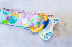 Pacifier Clip / Teal with Multi Colored by NanasBlanketsBibs