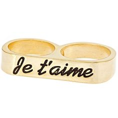 Erica Anenberg Je Taime Twosome Ring (€74) ❤ liked on Polyvore featuring jewelry, rings, accessories, anillos, fillers, yellow gold rings, engraved gold rings, double-finger ring, 2 finger ring and 14 karat gold jewelry