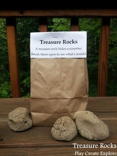 OMG! Treasure Rocks made from a coffee grounds & flour receipe -- hides a surprise. Great birthday gift idea