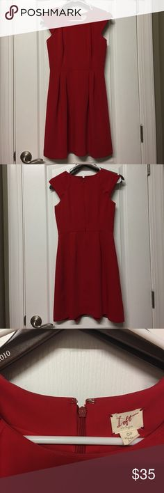 Red Ann Taylor Loft dress Red Ann Taylor Loft dress, machine washable, 100% polyester, fully lined, worn only a handful of times LOFT Dresses