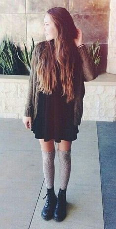 Little Black Dress Brandy Melville Green Military Cardigan Grey Long Over the knee Socks Black Shoes