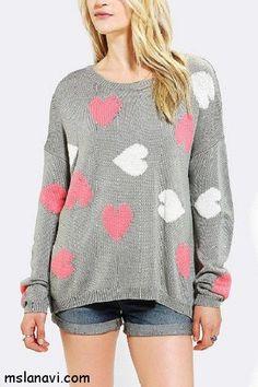 Вязаные пуловеры с узором сердечки