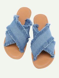 20.82 criss cross straps frayed denim blue Diy Jeans, Denim Furniture, Denim Bag Patterns, Blue Flip Flops, Boho Boots, Denim Crafts, Online Shopping Shoes, Denim Shoes, Blue Sandals