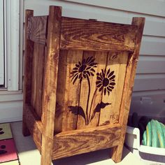 Pallet planter. Pyrography. DIY. https://www.etsy.com/listing/188061211/repurposed-wood-planter-wcustomized