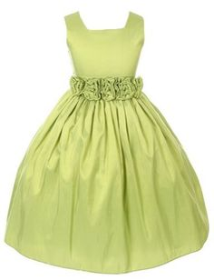 Lime Green Sleeveless Hand Rolled Flower Taffeta Flower Girl Dress (Sizes in 13 Colors) Green Flower Girl Dresses, Girls Dresses, Dress P, Baby Dress, Homecoming Dresses, Prom, Wedding Dresses, Taffeta Dress, Little Girl Outfits