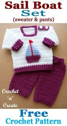 Free baby crochet pattern for two piece shoulder fastening sweater and pants outfit. designed for month baby but a larger hook can be used for a bigger size. Free baby crochet pattern for two piece shoulder fastening sweater and pants outfit. Crochet Baby Pants, Crochet For Boys, Baby Blanket Crochet, Crochet Clothes, Free Crochet, Crochet Baby Sweaters, Boy Crochet, Crochet Toys, Crochet Baby Outfits