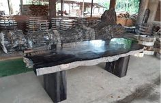 Black Petrified Wood Table Wood Tables For Sale, Petrified Wood Table, Tree Felling, Giant Tree, Wood Pieces, Dining Room Table, Prehistoric, Stone, Black