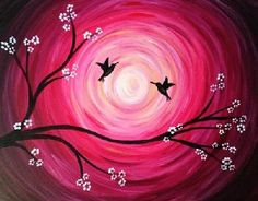 Swirly pink sun with birds and flowering tree. Beginner painting idea.