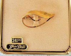 Vintage Van Dell Leaf Brooch, 14KT Gold Overlay, Mint Condition, Original Box and Tag