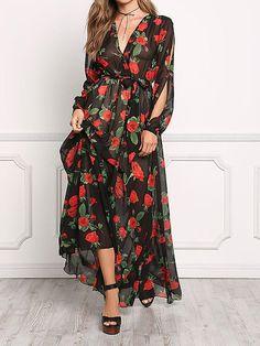 Floral Print V Neck Long Sleeve Belted Maxi Long Dress