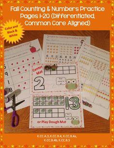 Three sets of counting printable practice pages for numbers 1-20 plus center mats that use fall/autumn clip art and are common core aligned and differentiated. Available in color and black and white. https://www.teacherspayteachers.com/Product/Fall-Counting-Numbers-Practice-Pages-1-20-DifferentiatedCommon-Core-Aligned-886940