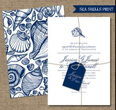 BEACH WEDDING INVITATIONS - Custumizable Printable Designs - Blue and White - SeaShells Print. $45.00, via Etsy.  Instead of the shells, tropical flowers?