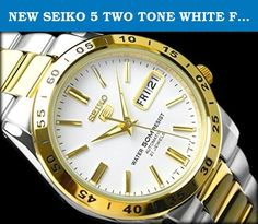 NEW SEIKO 5 TWO TONE WHITE FACE CLASSIC DAY DATE AUTOMATIC SNKE04K1 MEN'S WATCH. Seiko 5 Automatic Mens Dress Watch SNKE04 SNKE04K1 Pearly white dial with gold-plated trim, lumibrite hands and markers Stainless steel case and bracelet, see-through glass screw case-back Three-fold clasp with easy push-button release Day / Date at 3 o'clock position Water resistant 50m (5 bar) Automatic 7S26 movement, 21 jewels, self-winding Approximate measurements Case diameter: 38mm Weight: 120g.