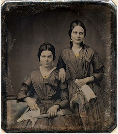 Victorian sisters decked out in gold jewelry, circa 1850
