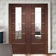 Portici Walnut Door Pair with Clear Safety Glass, courageous styling and practical. Painted Doors, Wooden Doors, Internal Double Doors, Dark Doors, Veneer Door, Walnut Doors, Door Fittings, Flush Doors, Contemporary Doors