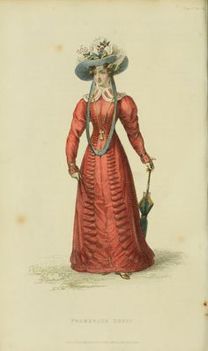 Fashionable large hat and parasol. Ackermann's Repository 1826