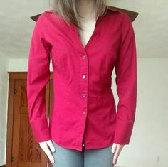 Express Design Studio Red Collared Blouse This is a red button-up blouse, size medium. It is in excellent condition. Only reason I'm selling is because it is slightly too big for me. Express Tops Button Down Shirts