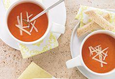 #Potage aux #tomates rôties Tofu, Tempeh, Seitan, Healthy Soup, Cheeseburger Chowder, Yummy Food, Cooking, Roasted Tomatoes, Gazpacho