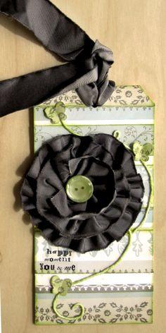 Ribbon flower tag ❤