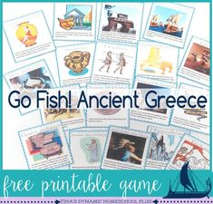 Free Ancient Greece Go Fish game. Theres not a better way to start back to our Ancient Greece unit study than playing a game. So, today I am sharing my free Ancient Greece go fish game. I have created some history cards to play Go Fish! Want to play? #ac