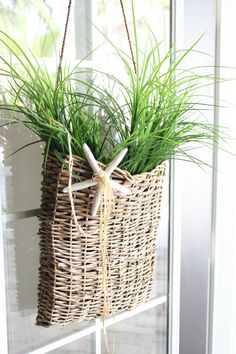 A door basket with grasses.