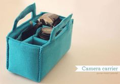 Make this cute camera carrier to switch inside your bags or purses. like this idea for changing purses/not box for camera Sewing Hacks, Sewing Tutorials, Sewing Crafts, Sewing Projects, Sewing Patterns, Quilting Patterns, Diy Projects, Diy Sac Pochette, Camera Bag Insert