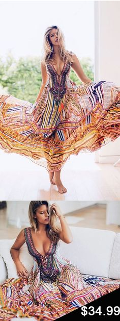 $34.99 Polychrome Plunge Folk Print Maxi Dress