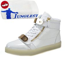 [Present:kleines Handtuch]Gold EU 37, USB Party Turnschuhe für LED Tanzen Farbe Herren Aufladen weise 7 Unisex Sneakers Leuchtend Schuhe Meta