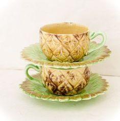 Vintage Pineapple Tea Cups, Ceramic Made in Japan, Set of Two Pineapple Tea, Pineapple Kitchen, Pineapple Express, Pineapple Icon, Coffee Cups, Tea Cups, Kitsch, Tea Time, Tea Party