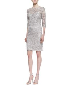 3/4-Sleeve Lace & Sequin Overlay Cocktail Dress, Platinum by Kay Unger New York at Neiman Marcus.
