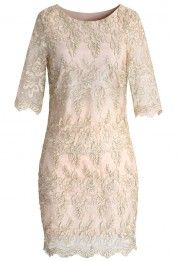 Golden Lace Embroidered Body-con Dress
