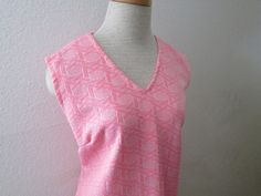 15-1023 Vintage 1960's Pink Polyester Sheath Dress by CajunRabbit