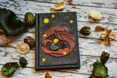 Little prince polymer clay journal A6 size. Fox, rose, le petit prince. Handmade, sculpted notebook cover. Original and unique fairy tale by 9DaysWonderArt on Etsy