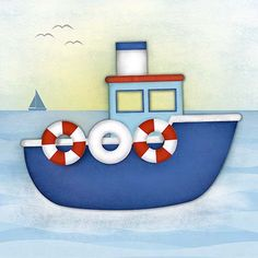 Boat Painting, Painting For Kids, Fabric Painting, Boat Cartoon, Ship Vector, Crafts For Kids, Arts And Crafts, Easy Coloring Pages, Drawing For Beginners