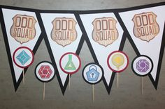 "Odd Squad ""HAPPY BIRTHDAY"" pennant banner & 12 Cupcake/Food Picks by MainPartyCreations on Etsy https://www.etsy.com/listing/262706591/odd-squad-happy-birthday-pennant-banner"