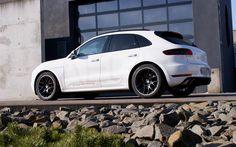 Scarica sfondi Porsche Macan S, Kaege, 2017, Bianco Macan, tuning Macan, SUV, auto tedesche, Porsche