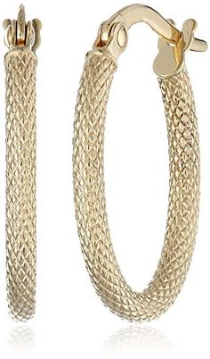 "14k Yellow Gold Oval Hoop Earrings (0.6"" Diameter) Amazon Collection http://smile.amazon.com/dp/B000F3VA10/ref=cm_sw_r_pi_dp_QI44wb1H96824"