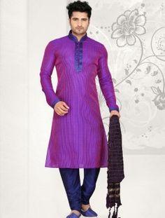Flawless Sheded Purple Art Silk Wedding Wear Kurta Pajama