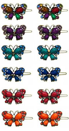 Dozen Pack  12 Crystal Butterfly Barrettes LPW862503D ** You can get additional details at the image link.