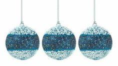 True Blue Beaded Ball Ornament Trio