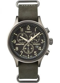 Timex #TW4B04100 Men's Indiglo Expedition Leather Slip On Band Chronograph Watch