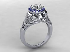 Skull Engagement Ring- Solid 14 Kt White Gold with .75 Genuine Diamond and Sapphire Halo Stones- UDINC0330